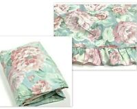 Stevens Vintage 1970s 2 Twin Sheets Fitted & Flat Rare Floral Pink Blue Ruffle
