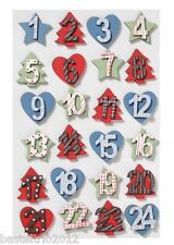Holzzahlen-Set 1-24 bunt Adventskalenderzahlen Holz Zahlen Adventskalender Stern