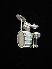 """JJ"" Jonette Jewelry Silver Pewter 'DRUM Set' Tac Pin"