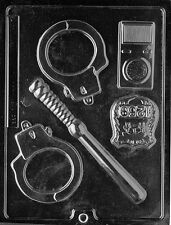 POLICEMAN KIT PIECES mold candy chocolate soap molds cop badge handcuffs police
