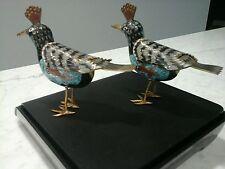 Pair Chinese Old Cloisonne Hoopoe Bird Figurines Trinket Statue Asian