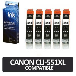 5x CLi-551 Black Ink Cartridges Canon  MG5450 MG5550 MG6350 iP7250 MG7150