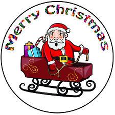 "Christmas Cake Topper Santa And Sleigh - Precut Round 8"" (20cm) Icing Decoration"