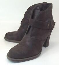 Crown Vintage Wos Ankle Boots Booties US7.5M Brown Hook Loop Strap Heels 2714