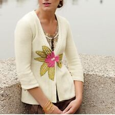 Anthropologie FIELD FLOWER Karst Edge Cardigan Sweater XS floral applique 2009