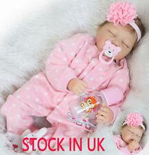 "UK Ship Sleeping 22"" Newborn Doll Real Lifelike Silicone Reborn Baby Dolls"