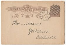 Australia Postal Stationery Postcard Cover, GPO Adelaide PMK, 1896 To Local Rev