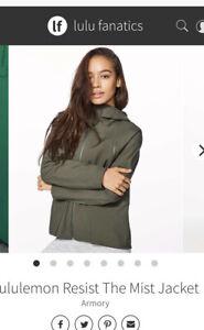 lululemon rain coat 6 olive green resist the mist jacket