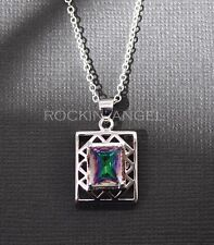 925 Silver & Mystic Rainbow Topaz Gem Pendant Necklace, ladies gift, Crystal (R)