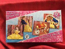 "Disney Princess Beauty & The Beast Belle Jigsaw 4 Puzzle Pk Ea One Size 5""x4.5 """