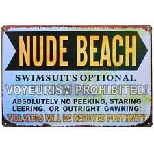 Nude Beach Retro Metal Tin Sign Homewares Decor Kitsch Pool Novelty Funny