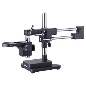 AmScope Heavy Duty Double-Arm Black Boom Stand w 76mm Focus Block & Tube Mount