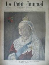 LA REINE VICTORIA ROI EDOUARD VII ANGLETERRE PORTRAITS LE PETIT JOURNAL 1901