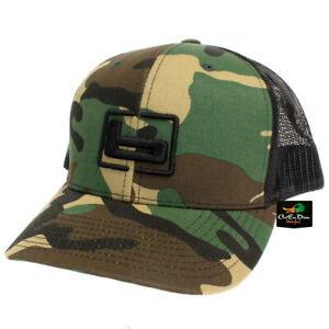 "NEW BANDED RICHARDSON 112 TRUCKER CAP MESH BACK HAT CAMO AND BLACK W/ ""b"" LOGO"