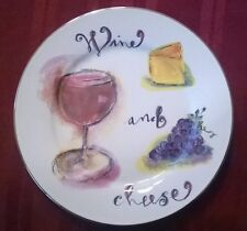 Red Wine and Cheese Luncheon Salad Bread Plate Grapes Gold Trim Rosanna Studio