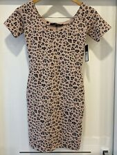 Guess Womens Party Dress Size XS Short Sleeved Pink Leopard Print New With Tags