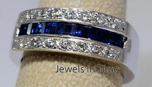 Ring 14k White Gold Diamond & Sapphire Band Size 7