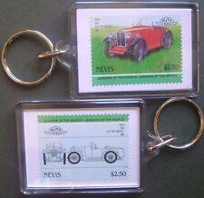 1930 MG M-Type Midget Car Stamp Keyring (Auto 100 Automobile)