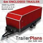 Trailer Plans - 6m ENCLOSED TRAILER PLANS - 6 x 2.4 x 2m - PRINTED HARDCOPY