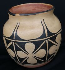 "Santo Domingo Kewa Indian Pottery 7 1/2"" D Jar With Geometric Floral Designs"