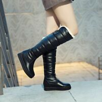 Womens Winter Warm Knee High Boots Fur Lined Snow Pull on Hidden Wedge Shoes