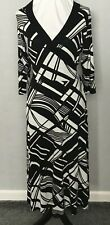 M&S black/white mock wrap tea dress size 14