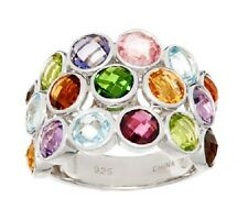BOLD MULTI-GEMSTONE 7.00 ct TRIPLE ROW STERLING SILVER BAND RING SIZE 6 QVC $191