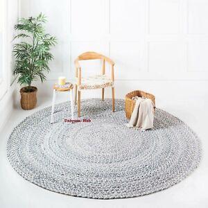 Rug 100% Cotton Handmade Reversible Round Braided Carpet Modern Living  Area Rug