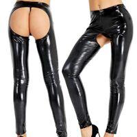 Sexy Women Wet Look Leather Open Butt Pants Skinny Legging Trousers Clubwear