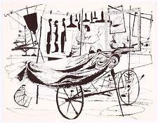 David Stone Martin Music Street Vendor Salesman w/ Cart Lithograph