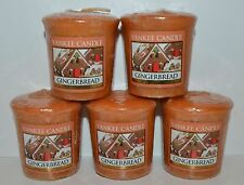 LOT OF 5 YANKEE GINGERBREAD VOTIVE CANDLE SAMPLERS HTF SMALL 1.75 OZ NEW HOUSE