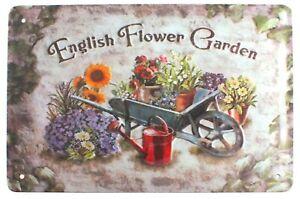 English Flower Garden Country Farmhouse Kitchen Wall Door Sign Plaque 30 x 20 cm