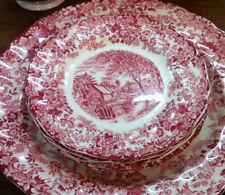 "5 ea plates Johnson Bros England ""Mill Stream"" red used, 5 Teller"