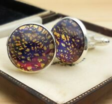 Vintage Red Blue Gold Fire Glass Opal - Large Round Silvertone Cufflinks