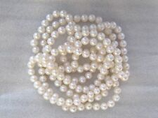 """48"""" White Freshwater Cultured Pearl Necklace Round Pearls No Clasp Stunning"""