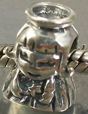 925 STERLING SILVER ANGEL with HALO European slide on CHARM BEAD oxidised