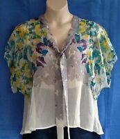 Ladies Blouse Size 12 Rivers Butterflies Green Yellow Purple Grey Cream As New