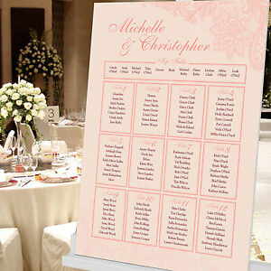 Personalised Wedding Seating Table Plan ~Canvas~Board~Paper~ Lace Design
