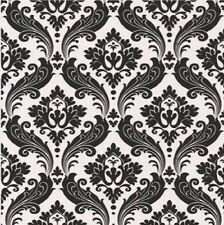 30-387 Graham and Brown Black and White Textured Damask Modern Feature Wallpaper