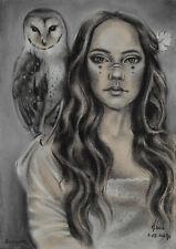 original drawing 20 x 28,5 cm 207LN art samovar Pastel woman with owl Signed