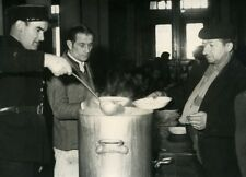 France Paris Police serving Hot Soup to Homeless Old Photo 1954