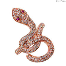 18K Rose Gold SNAKE Ring Pave HALLOWEEN Diamond Gemstone Ruby Jewelry Resize