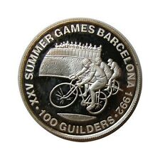 elf Suriname 100 Guilders 1992 Silver Proof Olympic Games Cyclist