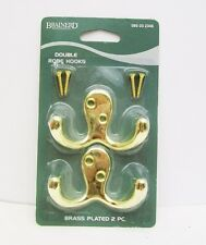 BRAINERD Set of 2 DOUBLE ROBE HOOK Brass Plated LIBERTY HARDWARE New Sealed Pack