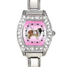 Rough Collie CZ Ladies Stainless Steel Italian Charms Bracelet Wrist WatchBJ1078