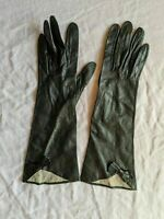 France Chevreau Grenoble Black Leather Pair of Gloves with Bow Detail 6 Vintage