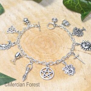 Wiccan Charm Bracelet - Pagan Jewellery, Wicca, Witch, Goddess, Pentacle