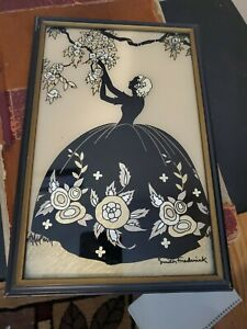 Vintage Silhouette Reversed Painting Foil Art Southern Belle -Smith Frederick