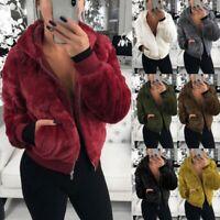 Women's Fleece Fur Jacket Outerwear Tops Winter Warm Hooded Fluffy Coat Overcoat