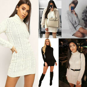 LADIES CHUNKY CABLE KNITTED HIGH POLO ROLL NECK STRETCH JUMPER MINI DRESS WOMENS